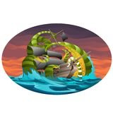 Oval poster with sea ship captured by octopus tentacles. Vector cartoon close-up illustration. vector illustration