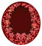 Oval purple floral frame. Stock Photo