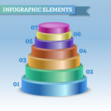 Oval pyramid infographic to show steps or growth Royalty Free Stock Photo