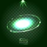 Oval ram för abstrakt lins med stjärnor och signalljus Royaltyfri Illustrationer