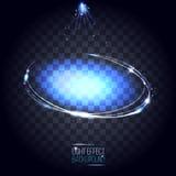 Oval ram för abstrakta linsblått med stjärnor och signalljus Vektor Illustrationer
