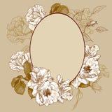 Oval ram för tappningrosor Royaltyfri Foto