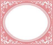 Oval ram med den eleganta prydnaden Arkivfoto