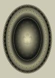 Oval ram med den heraldiska liljan Royaltyfri Bild