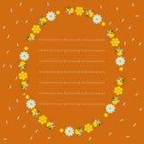 Oval ram med honungskakor, bin, blommor Orange bakgrund med flygkronblad Prickig linje, st?lle f?r text ocks? vektor f?r coreldra vektor illustrationer