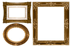 Oval and Rectangular Decorative Gold Empty Wall Pi stock photos