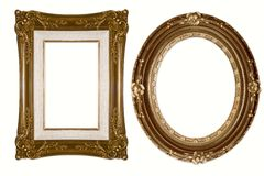 Oval and Rectangular Decorative Golden Frames stock images