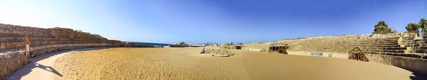 Oval Roman amphitheatre of Herod`s in Caesarea, Israel Royalty Free Stock Image