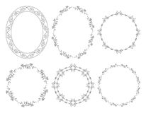 Oval and round floral vector frames with flowers. Oval and round floral vector frames with  flowers Royalty Free Stock Photography