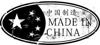 Gjort i Kina den ovala rubber stämpeln Arkivfoto