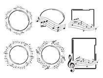 Oval runda och rektangulära musikramar - härlig vektoruppsättning stock illustrationer