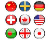 Oval shape Flag icons Royalty Free Stock Photography