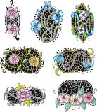 Oval-shaped flower ornamental decorations Stock Image