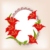 Oval shaped frame or sticker with red flowers. Stock Photos