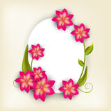 Oval shaped frame and sticker with stylish flowers. Stock Photos