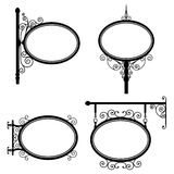 Oval Sign. Black and white wrought iron oval signs set Royalty Free Stock Photo