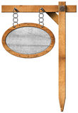 Oval Sign with Frame Chain and Pole Stock Image