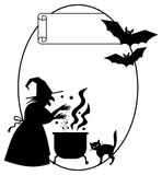 Oval silhouette frame a witch preparing potion in the magic cauldron. Stock Image