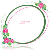 Oval Simple Frame with Abstract Flowers Stock Images