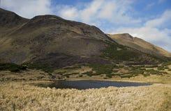 Oval sjö på foten Royaltyfria Bilder