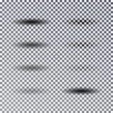 Oval skuggauppsättning för vektor Olikt genomskinlig skuggaeffekt är Arkivbilder