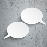 2 Oval Speech Bubbles Concrete. Infographic design with 2 speech bubbles and pins on the concrete background Royalty Free Stock Photo
