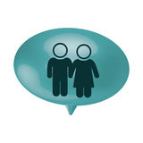Oval speech with pictogram of couple Royalty Free Stock Image