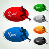 Oval sport labels - color sticker with silhouette, sportsman, athlete Stock Photo
