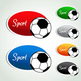 Oval sport labels - color sticker with soccer ball Royalty Free Stock Photos