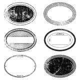 Oval stämpeluppsättning för Grunge Royaltyfri Foto