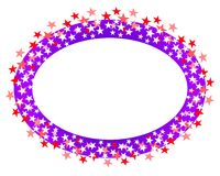 Oval Stars Border or Logo 2. A clip art illustration of a purple red and white colored oval shaped logo, border or label Royalty Free Stock Images