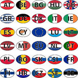 Oval sticker flag of the European Union countries. With the ISO code of the country, EU domain, vector illustration for print or website design, and language Royalty Free Stock Photos
