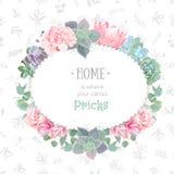 Oval succulents vector design frame. Echeveria, protea, eucaliptus, rose, hydrangea. Royalty Free Stock Photo
