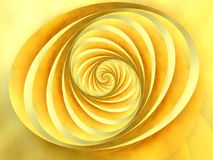 Oval Swirls Stripes Yellow. A soft textured doubled swirl spiral, stripes, and lines pattern moving in a circular motion and colored in gold and yellow Stock Image