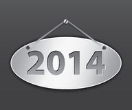 2014 oval tablet. Metallic oval tablet for 2014 year. Vector illustration Royalty Free Stock Photo