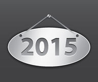 2015 oval tablet. Metallic oval tablet for 2015 year. Vector illustration Royalty Free Stock Images