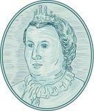 oval teckning för 18th europeiska kejsarinnabyst för århundrade Royaltyfri Bild