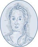 oval teckning för 18th ryska kejsarinnabyst för århundrade Arkivfoton