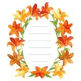 Oval textram med stora orange och gula liljor och gröna sidor stock illustrationer