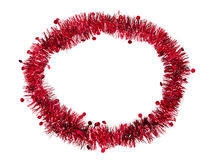 Oval tinsel Christmas or Festive frame, red Stock Photography