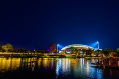 Oval und Riverbank Adelaie nachts Stockfoto