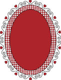Oval Valentine Frame or Tag With Gingham Trim. Oval Valentine frame or tag with red copy space, curly hearts and gingham trim Stock Photo