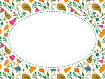 Oval vector flower frame with place for your text Royalty Free Stock Photo