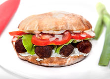 Oval vegan sandwich  with soya barbecue cevapcici Royalty Free Stock Photos
