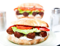 Oval vegan sandwich  with soya barbecue cevapcici Stock Photos