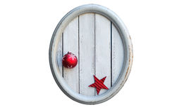 Oval Vintage Frame with Christmas Ball and Red Star Royalty Free Stock Photos