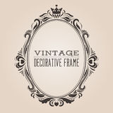 Oval vintage ornate border frame, victorian and royal baroque style decorative design. Royalty Free Stock Photos