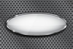 Oval vit knapp med kromramen symbol 3d på perforerad bakgrund för metall royaltyfri illustrationer