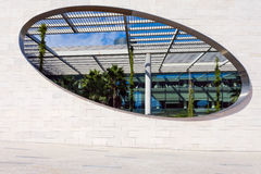 Oval window to the interior garden in the Champalimaud Foundation Royalty Free Stock Photo
