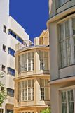 Oval windows. Of an apartment house in the city of Tel Aviv royalty free stock images